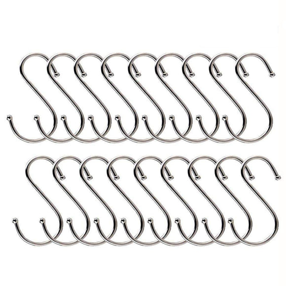 20 Pack S Shaped Hanging Hooks, 3.14