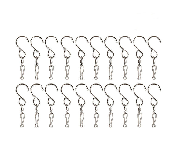 Bestsupplier 20 Pack Swivel Hooks Clips for Hanging Wind Spinners Wind Chimes Crystal Twisters Party Supply S Hooks