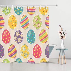 NYMB Multicolor Easter Eggs Shower Curtain, Cartoon Childlike Painted Eggshell Pattern, Bathroom Mildew Resistant Polyester Fabric Waterproof Shower Curtain Set with Hooks, 69X70in