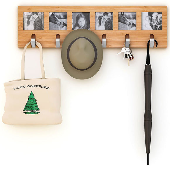 Tribesigns Bamboo Coat Rack Wall Mount Hanger 28.7x7.9 inch, 6 Sturdy Metal Flip Hooks & 6 Photo Collage Frames for Entryway Walkway Bedroom Doorway