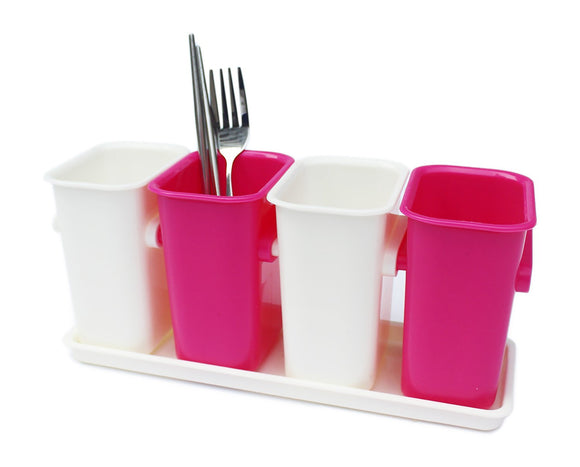 Honla Interlocking Plastic Flatware Caddy Organizer on Tray,Silverware,Cutlery,Utensil Drying Rack Holder for Kitchen Countertop Dining Table Storage,4 Compartment Drainer,Pink and White