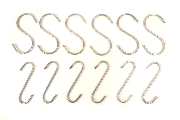 12 pcs Durable Zinc Plated Steel Construction S Hooks
