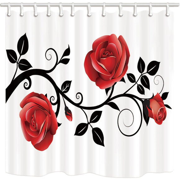 NYMB Floral Flower Shower Curtain, Concise Style Red Rose Black Branch White Background, Bathroom Polyester Fabric Waterproof Shower Curtain Set with Hooks, 69X70in