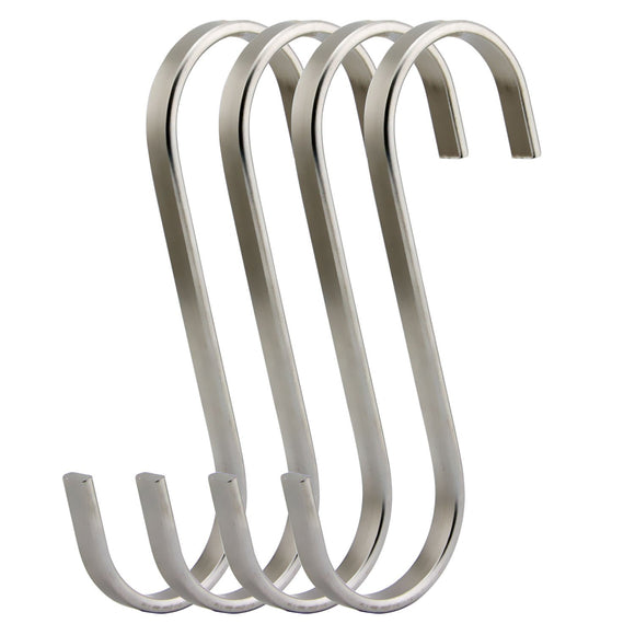RuiLing Premium 4 - Pack Size Extra Large Brushed Stainless Flat S Hooks Kitchen Pot Pan Hanger Clothes Storage Rack.
