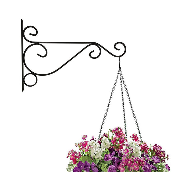 Plant Hook or Plant Bracket 10'' Wall Planter Hook Flower Pot Feeder Wind Chime Lanterns Hanger Decoration Outdoor Indoor Patio Lawn Garden for Shelf Shelves Fence With Screw (black)