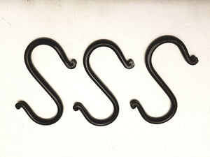 "Wrought Iron Set Of 3 Small S"" Hooks - Each Hook is 3 3/4"" Long"
