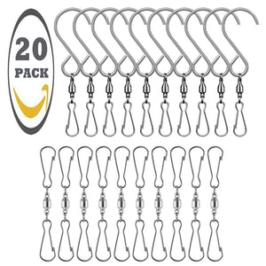 Deeram 20 Pack Stainless Steel Swivel Hooks Clips Rotating 360° for Wind Spinners Wind Chimes Hanging Pots Birdcage Plants Party Supply Garden Ornaments Accessories, S-Hooks & Clips