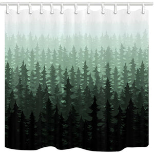 NYMB Nature Forest Landscape Decor, Watercolor Pine Trees Shower Curtains for Bathroom, Polyester Fabric Farm House Fog Bath Curtain, 69X70in, Shower Curtain Hooks Included,Dark Green