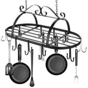 Home Kitchen Wall Mount Pot Storage Rack Pans Organizer hanger with 10 Hook for Kitchen Cookware, Utensils, Pans, Books (Black 2)