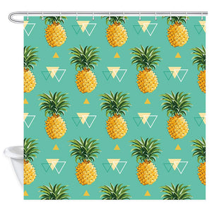 NYMB Pineapple Decor Shower Curtain, Tropical Fruit with Leaf and Geometric Triangle Line, Fabric Bathroom Decorations Bath Curtains 12PCS Hooks Included, 69X70 in, Turquoise Green Yellow