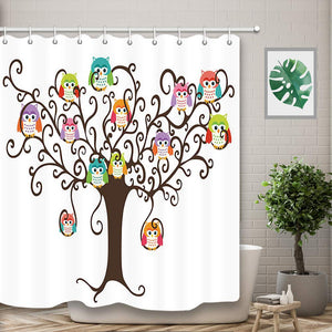 NYMB Colorful Owls in Pretty Tree for Kids Bath Curtain, Polyester Fabric Waterproof Cartoon Funny Animals Shower Curtains, 69X70 in, Shower Curtain Hooks Included, Brown Green(Multi6)