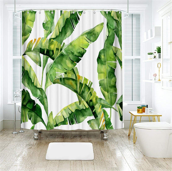 LIVILAN Shower Curtain Set with 12 Hooks Tropical Plant Banana Leaf Print Bath Curtain Home Decorations Fabric Home Curtain Machine Washable Privacy Curtain 72 X 72 inch, Green