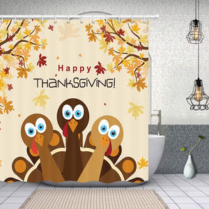 KOTOM Festival Shower Curtains for Bathroom, Turkey for Happy Thanksgiving, Polyester Fabric Waterproof Bath Curtain, Shower Curtain Hooks Included, 69X70in