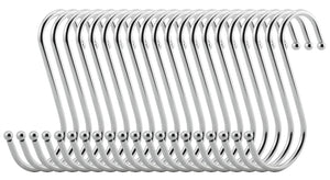 RuiLing Premium 15-Pack Heavy-Duty Extra Large Round S Shaped Hooks in Polished Stainless Steel Metal Hanging Hooks,for Kitchen Spoon Pan Pot Hanging Hooks Hangers.