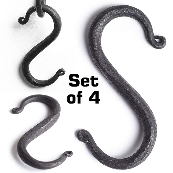 S Hooks Wrought Iron Black for Hanging - Hand Forged Heavy Duty 1/2 Inch pipe - 4 Hooks!