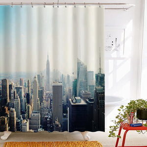 Roslynwood Tidy Decor New York Tapestry Shower Curtain, New York City Midtown with Empire State Building Polyester Fabric Waterproof Bath Curtain, 69X70in, Shower Curtain Hooks Included