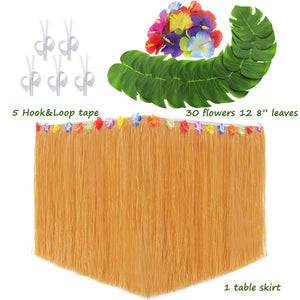 "LoveS Hawaiian Luau Party Supplies Set - 1Pack Hawaiian Grass Table Skirt with 12Pcs 8"" Tropical Palm Monstera Leaves and 30Pcs Hibiscus Flowers (5Pcs Adhesive Hook & Loop) (green)"