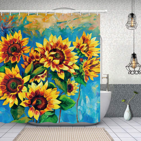 NYMB Oil Painting Autumn Sunflower Shower Curtain in Bath, Fall Harvest Farm Plant Flower, Polyester Fabric Bathroom Fantastic Decorations Watercolor Sunflower Bath Curtains Hooks Included, 69X70in
