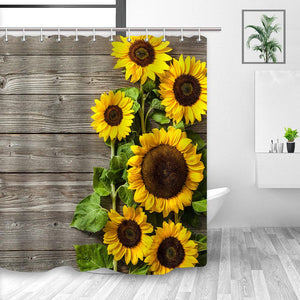 NYMB Sunflower Shower Curtain 3D Printing, Spring Field Rustic Flowers on Country Wooden Board,Fabric Bathroom Decorations, Bath Curtains 12PCS Hooks Included, 69X70 Inches(Yellow Green)