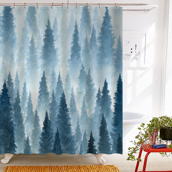 Roslynwood Tidy Decor Nature Forest Landscape Decor, Watercolor Pine Trees Shower Curtains for Bathroom, Polyester Fabric Waterproof Bath Curtain, 69X70in, Shower Curtain Hooks Included, Blue