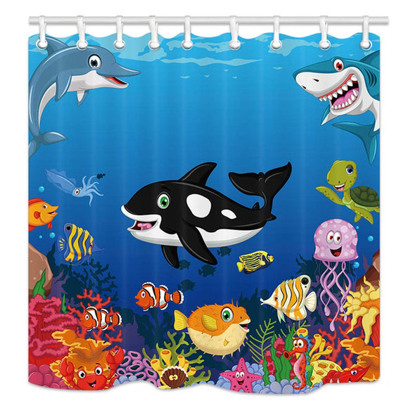NYMB Kids Love Sea Animals Shower Curtains, Cartoon Whale with Sea Life Swimming in Coral, Polyester Fabric Waterproof Ocean Animal Bathroom Bath Curtain, Shower Curtain Hooks Included, 69X70in