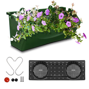 KORAM 12-inch Vertical Garden Planter Wall Mount Hanging Flower Box Living Wall Planter Plant Pots with S Shaped Hooks for Balcony Window Vegetable Gardens, 1-Pack Garden Gifts for Men & Women