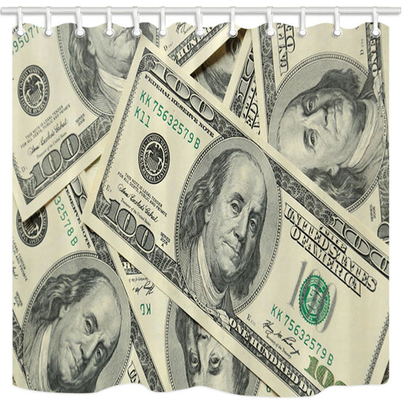 NYMB United States Decor, Vintage Hundred Money Symbol Dollar Shower Curtain, Waterproof Polyester Fabric Bathroom Decorations, Bath Curtains Hooks Included, 69X70in