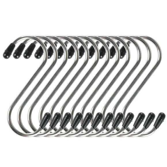 fani 12 Pack S Shaped Stainless Steel Hook Small Hanging Hooks Heavy Duty Hangers for Kitchen, Bathroom, Bedroom and Office