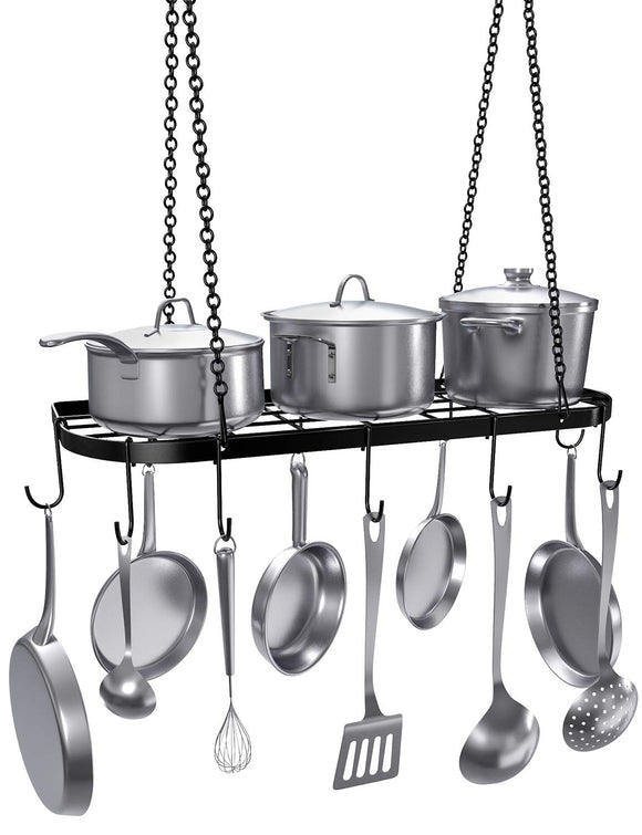 VDOMUS Pot Rack Ceiling Mount Cookware Rack Hanging Hanger Organizer with Hooks, Black