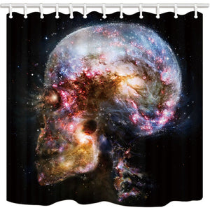 NYMB Interstellar Shower Curtain, Science Fiction Universe Skull Galaxy, Polyester Fabric Nebula Bath Curtain, Bathroom Shower Curtain Set with Hooks, 69X70in, Bathroom Accessories