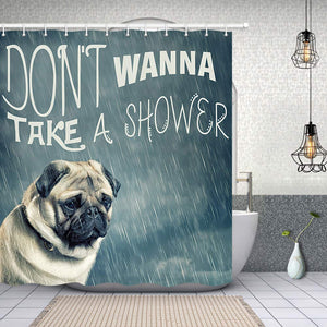 NYMB Vintage Animal Decor, Pug Dog Puppy in The Rain Don't Wanna Take a Shower Shower Curtain, Polyester Fabric Bathroom Decorations, Bath Curtains Hooks Included, 69X70 inches (Multi1)