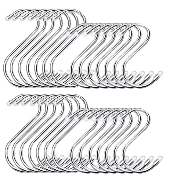 HiGift 30 Pack Heavy Duty S Shaped Hooks Stainless Steel Metal S Hooks for Hanging, 2 Sizes