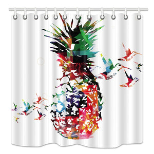 NYMB Pineapple Shower Curtain, Tropic Colorful Pineapple Fruits with Hummingbirds Shower Curtains, Waterproof Fabric Bathroom Decorations, Bath Curtains Hooks Included, 69X70 inches