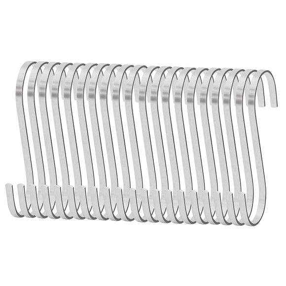 IPOW 20 PCS Larger 4-inches Kitchen Tools Flat S Shaped Hooks Brushed Stainless Steel Metal Kitchen Pot Pan Hanger Storage Hanging Rack