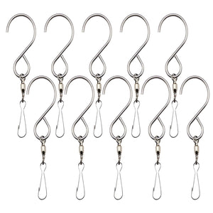 Inoveez [10-Pack Swivel Hooks Clips for Hanging Wind Spinners, Wind Chimes, Bells Crystal Twisters Party Supply - Smooth 360 Rotation Spinning S Hooks Hangers