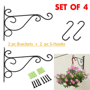 "2 PCS Wall Hanging Plants Bracket Premium Thicken Iron Decorative Planter Hook with 2 PCS 6"" S-Hooks for Lanterns,Planters,Hanging Bird Feeders,Ornaments (Black) by OVOV"