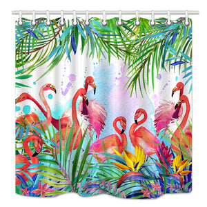 NYMB Tropical Floral Shower Curtain, Flowers Leaves and Flamingo on Summer Nature Background Watercolor Decor,Mildew Resistant Fabric Bathroom Decorations, Bath Curtains Hooks Included, 69X70 inches