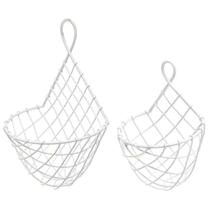 Wall-Mounted White Woven Metal Wire Hanging Fruit & Produce Holder/Flower & Plant Baskets, Set of 2