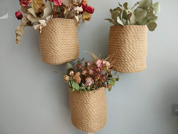 Wall Mounted Jute Storage Baskets -3 pcs- Hanging Door Knob Baskets Indoor Herb Garden Baskets, Plant Hanger, Coat Rack Wall Garden Hook Storage Hanging Pocket Planter Baskets Cubbie Shelf