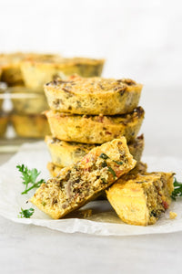 Quinoa scramble breakfast muffins are double protein loaded, make ahead, and vegetarian! Make these on meal prep Sunday and have portable breakfast for the week!