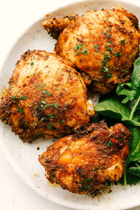 Crispy and Juicy Air Fryer Chicken Thighs are the perfect thing to make tonight! Perfectly seasoned, these are the most scrumptious chicken thighs EVER!