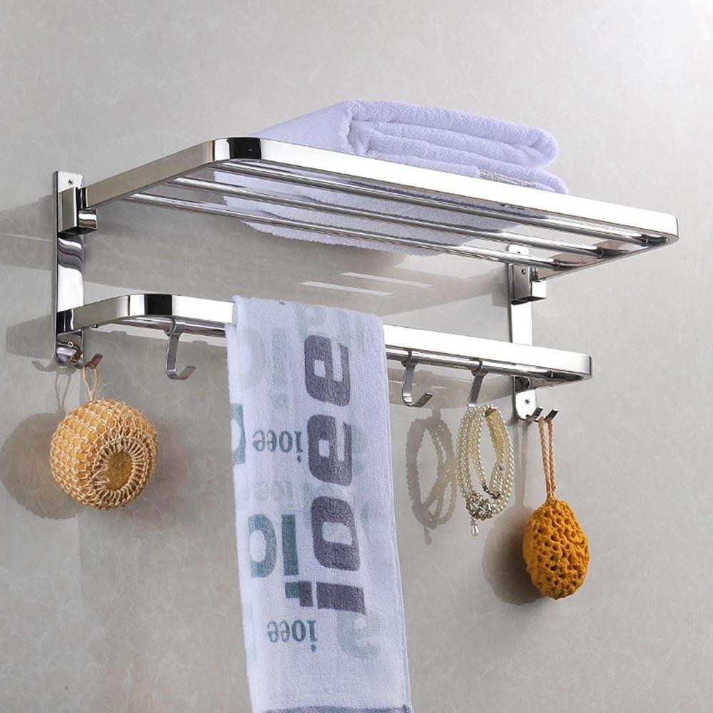 Wall Mounted Towel Rack Rail Holder Storage Shelf 4 Sliding Hooks