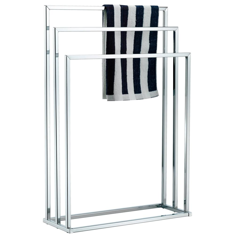 3 Tier Chrome Plated Silver-Toned Freestanding Towel Rack