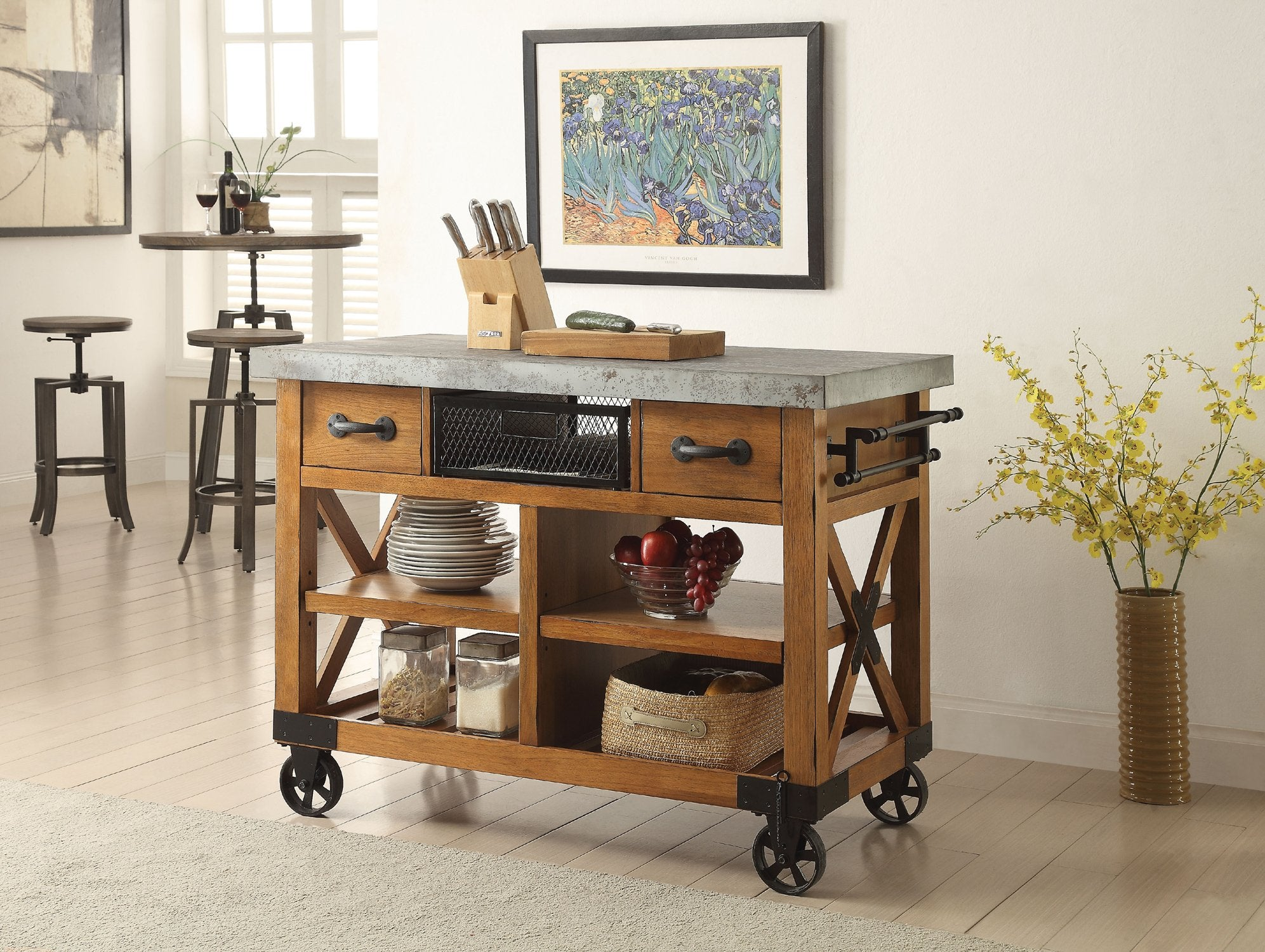 Acme 98182 Kailey Distress Oak Storage Kitchen Cart