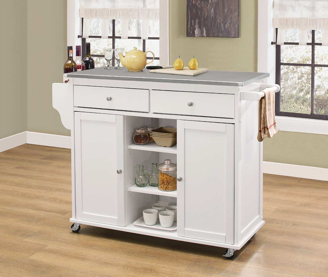 Acme 98307 Tullarick Stainless Steel White Kitchen Cart