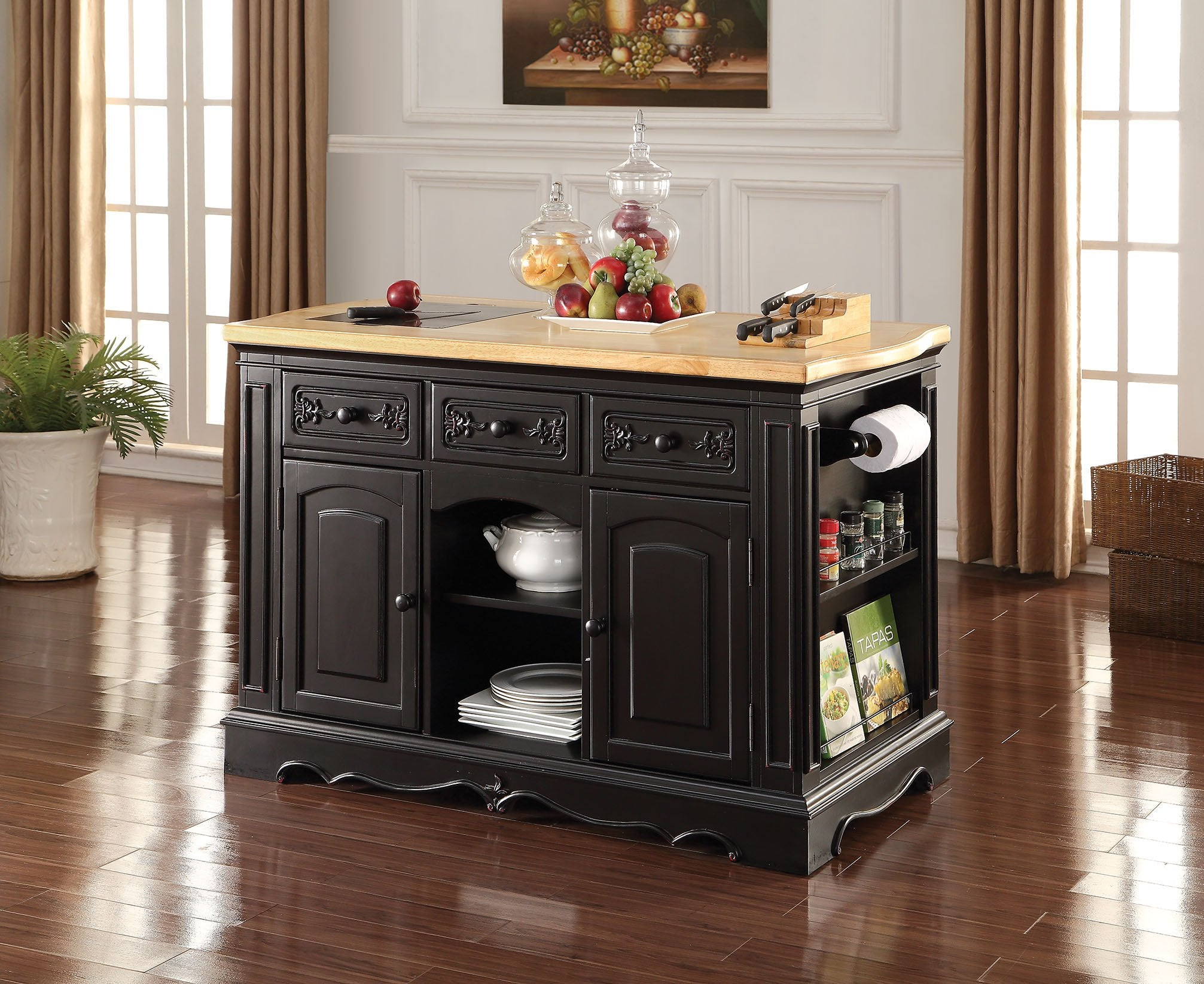 Acme Ariuk Granite Black wood Stroage Kitchen Island Cabinet