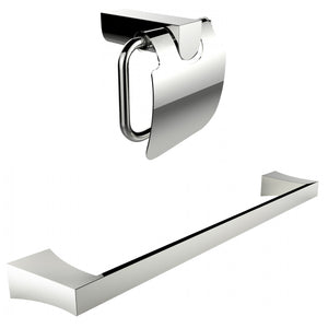 American Imaginations AI-13339 Chrome Plated Toilet Paper Holder With Single Rod Towel Rack Accessory Set
