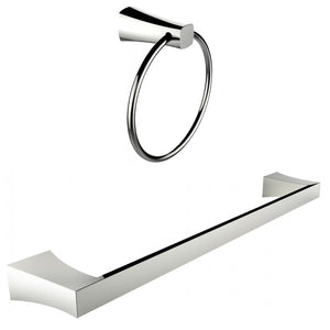 American Imaginations AI-13348 Chrome Plated Towel Ring With Single Rod Towel Rack Accessory Set