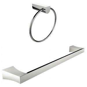 American Imaginations AI-13363 Chrome Plated Towel Ring With Single Rod Towel Rack Accessory Set