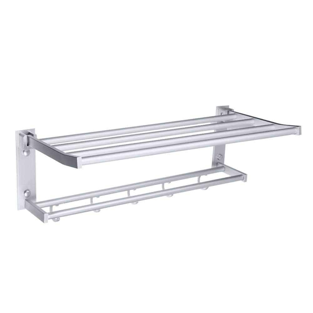 Double Wall Bathroom Towel Rail Mounted Holder Shelf Storage Rack Bar